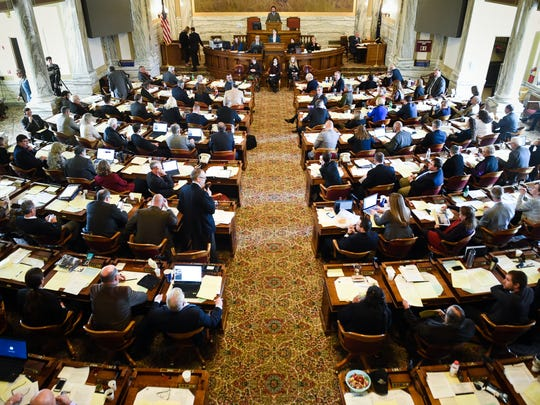 The full assembly of the state house of representatives Tuesday, Nov. 14, 2017,  during the special legislative session in Helena, Mont.   (Thom Bridge/Independent Record via AP)