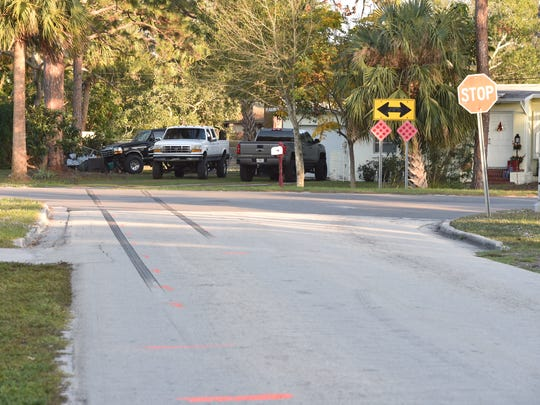 Skid marks are seen along Cortez Boulevard leading east into a driveway on Sunrise Boulevard on Monday, Dec. 25, 2017, in Fort Pierce. A 9-year-old boy died in the crash that occurred before dawn on Christmas Day, which was also his birthday.