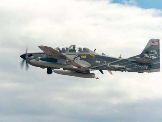 An A-29 Super Tucano experimental aircraft crashed
