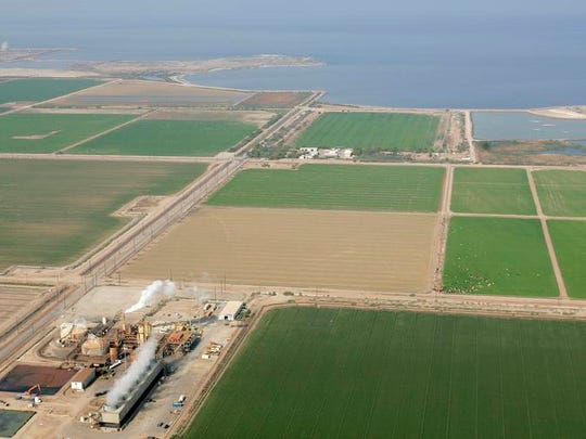 Imperial Valley farms and a geothermal power plant