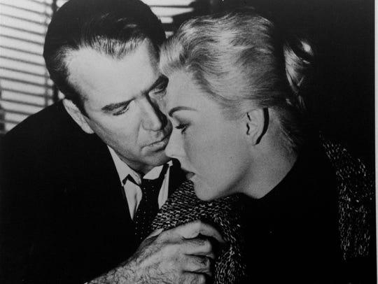 Jimmy Stewart and Kim Novak star in the 1958 film Vertigo.