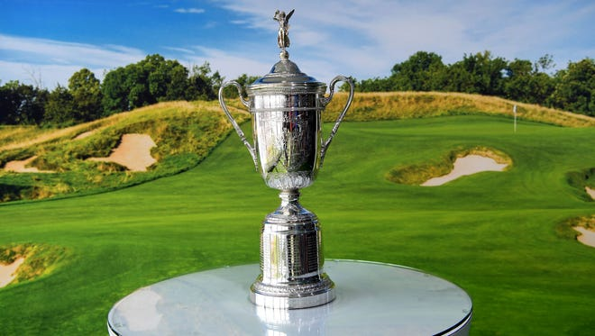 The US Open Championship Trophy seen in the Lexus fan experience during the opening practice round of the U.S. Open golf tournament at Erin Hills in 2017.