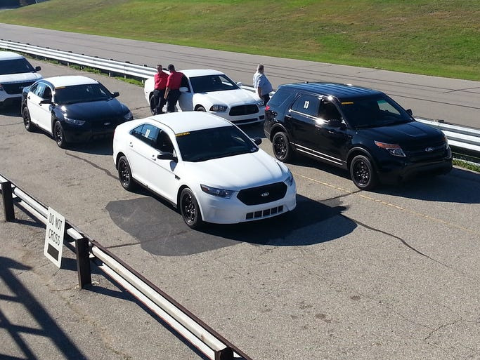 Test vehicles are lined up for the Michigan State Police trials
