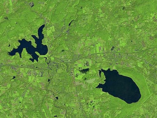 Round Valley (right) and Spruce Run (left) reservoirs, September 2011