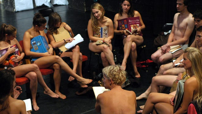 Students at the Hungarian university of Kaposvar attend class wearing their underwear on Oct. 3, 2013, in protest against a harsh dress code decreed by the college rector.