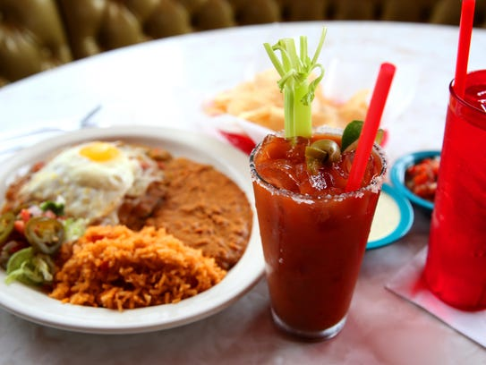 Tito's Bloody Mary and Chuy's Southwestern Enchiladas
