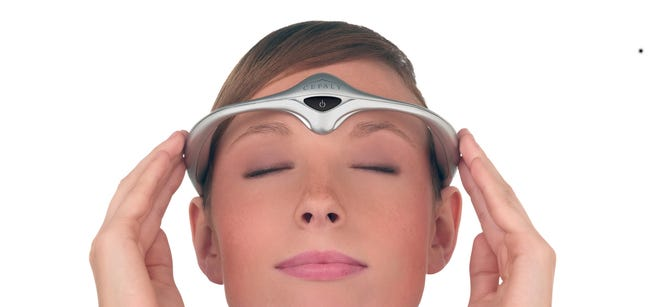 """The Cefaly headband """"provides an alternative to medication for migraine prevention,"""" the FDA says."""