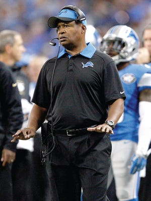 Detroit Lions coach Jim Caldwell reacts on the sideline against the Minnesota Vikings at Ford Field.