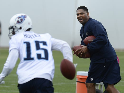 Tennessee Titans receivers coach Shawn Jefferson leads a drill with the receivers during practice at Saint Thomas Sports Park on Monday, June 2, 2014.