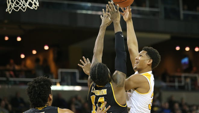 in the first half during the NCAA basketball game between the Milwaukee Panthers and the Northern Kentucky Norse, Thursday, Feb. 8, 2018, at BB&T Arena in Highland Heights, Ky.