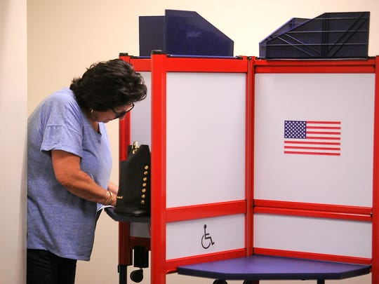 Ruth Martinez, of Port Hueneme, casts her ballot  in