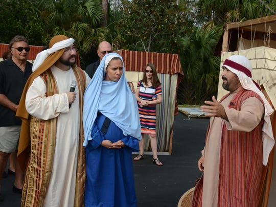 """""""No room at the inn,"""" the innkeeper tells Mary and Joseph."""