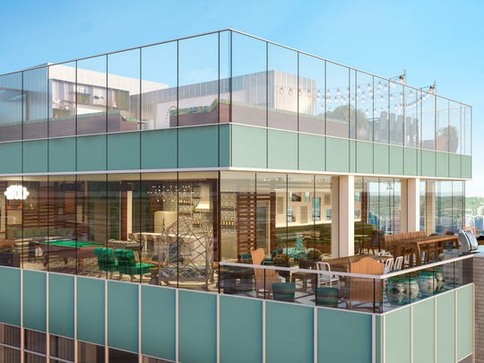 A rendering shows the proposed 800 Sky Club at the
