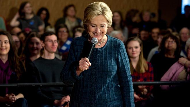 Democratic presidential candidate Hillary Clinton speaks at a rally at the Steyer Opera House at Hotel Winneshiek in Decorah, Iowa, Tuesday, Jan. 26, 2016.