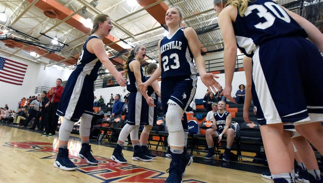 Marysville Vikings' Hannah Delor is introduced Monday, Feb. 27, during girls district basketball action at Armada High School.