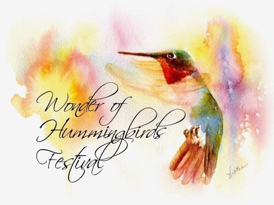 This poster, created by Vickie Henderson, advertises the annual hummingbird festival on Saturday, Aug. 25.