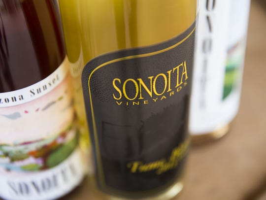 Bottles of wine from Sonoita Vineyards in Elgin, Ariz.