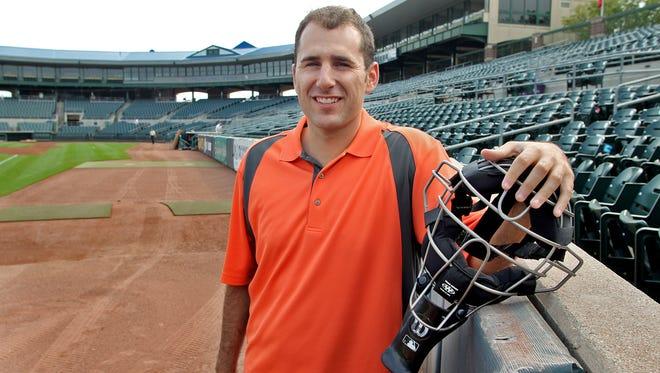 Urbandale native Pat Hoberg, pictured last season at Principal Park, made his Major League Baseball umpiring debut last week in Arizona.