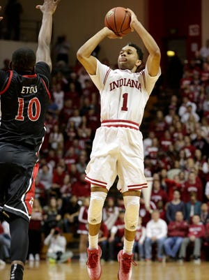 Indiana guard James Blackmon Jr. (1) shoots over Rutgers forward Junior Etou (10) during a NCAA men's basketball game on Saturday, Jan. 31, 2015, at Assembly Hall in Bloomington. (James Brosher / For The Star)