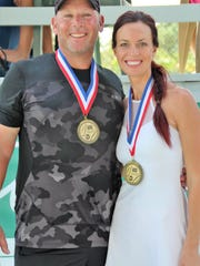 Patrick Galligan and Viktorija Roux, Gold winners Mixed Doubles 4.0 at the Buttonwood Charity Doubles Tournament in 2016.