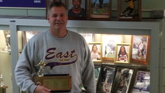 Coach Paul Brigandi with 2005 Section V Championship Trophy.
