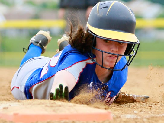 Spring Grove's Bailey Rapson dives back to first during