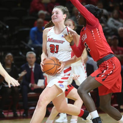 Marist College's Willow Duffell drives to the basket