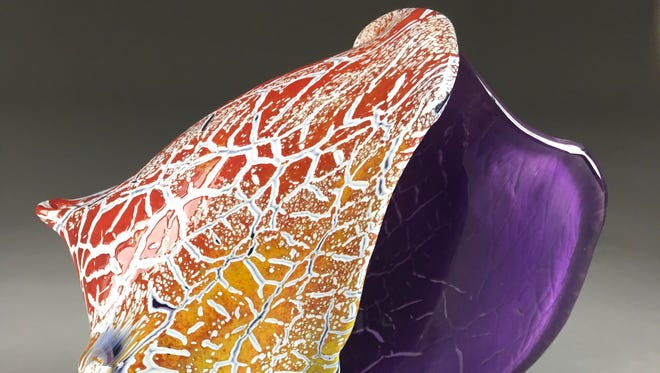 Hand-blown and hot-sculpted glass conch shell by Joe Hobbs.