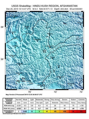 An intensity shake map released by the U.S. Geological Survey on Dec. 25, 2015, shows the location where a magnitude-6.2 earthquake struck southwest of Ashkasham, Afghanistan.