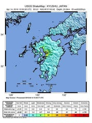 A handout shakemap provided by the US Geological Survey