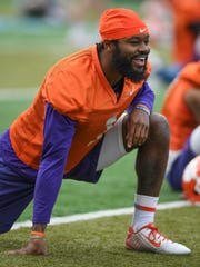 Dec 30, 2017; New Orleans, LA, USA; Clemson wide receiver Trevion Thompson (1) during Clemson's Sugar Bowl practice at Tulane University in New Orleans on Saturday, December 30, 2017. Mandatory Credit: Bart Boatwright USA Today Sports