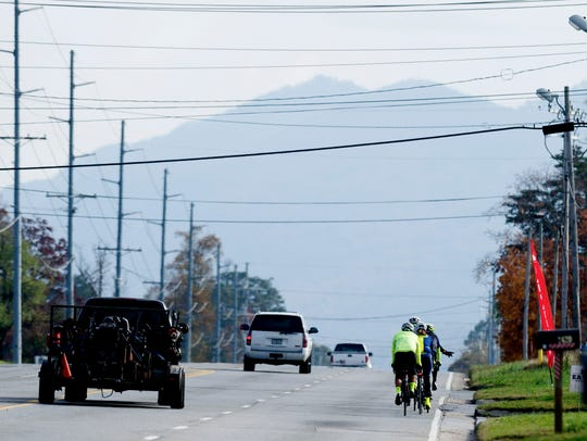 Bikers ride down Lamar Alexander Parkway during a group bike ride in Maryville, Tennessee, on Tuesday, November 14, 2017. Knoxville Regional Transportation Planning Organization created a map of all walker/biker accidents with cars and found that Alcoa has the most per capita.