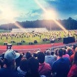 Jackson Jaguar Band takes the field in 2014.