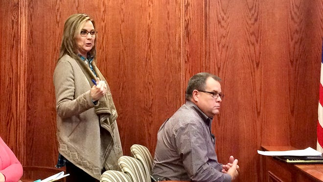 Wichita County Clerk Lori Bohannon speaks to the Wichita County Commissioners Tuesday morning at the Wichita County Courthouse.
