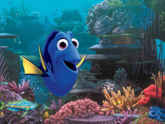 "Dory, voiced by Ellen DeGeneres, in a scene from ""Finding"