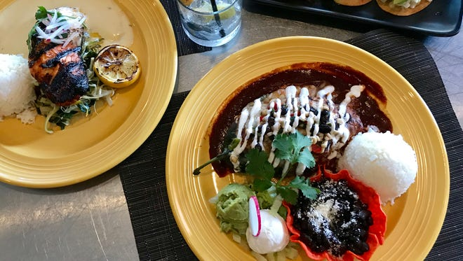 Offerings at La Cosecha include Salmon Asado, from left, Chile Relleno and the Happy Hour Agfua Chile Ceviche Tostaditas.