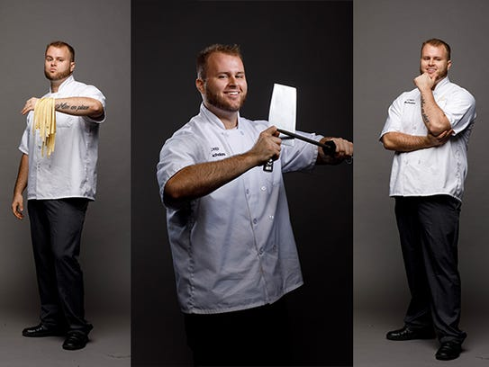The over 100-year-old meat cleaver held by Chef Nicholas