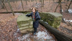 Wauwatosa Mayor Kathy Ehley stands at a stone stairway