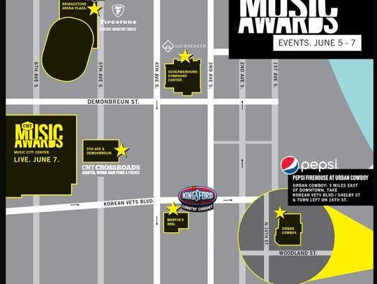 A map of the events for the 2017 CMT Awards.