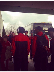 Lauren Steenhoek (@catwhiskerer on Instagram) posted this picture of the Austin Peay basketball team arriving at their Des Moines hotel.