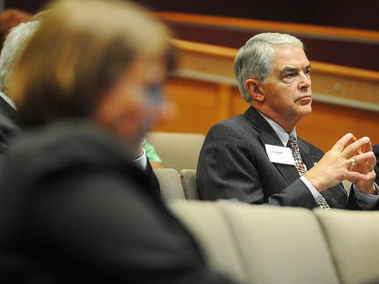 Rob Oliver, Augustana University president, looks on during a Strategic Workforce Action Agenda press conference last Wednesday.