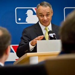 Rob Manfred answers questions after wrapping up his first owners' meetings as Major League Baseball commissioner.