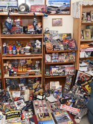 A view of part of Donna Brunow's NASCAR memorabilia