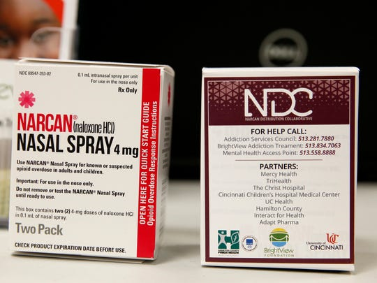 Narcan, the brand for the opioid overdose antidote naloxone, is on a table at the Hamilton County jail, where a coalition provides free doses of the non-narcotic to try to prevent overdose deaths during the opioid epidemic.