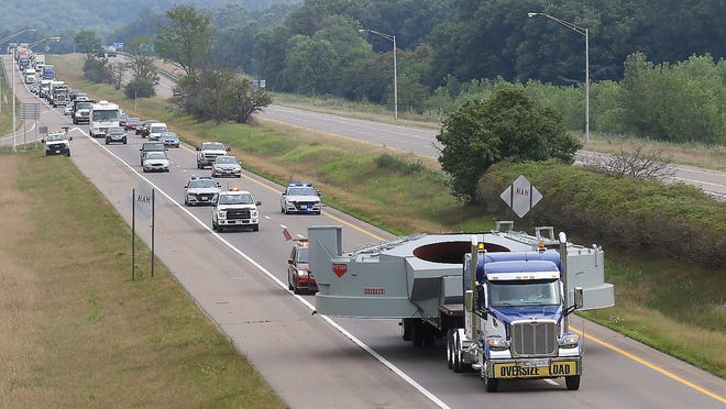A truck hauling a part for a furnace being delivered to Steubenville passed through the area Thursday on I-77 with the help of a rolling road block. The superload, which originated in Wayne County, went down 77 to Uhrichsville, where it turned onto U.S. 250 before turning again on U.S. 22 on it's way to Steubenville. Another load is expected in the area Friday morning and a third on Saturday.