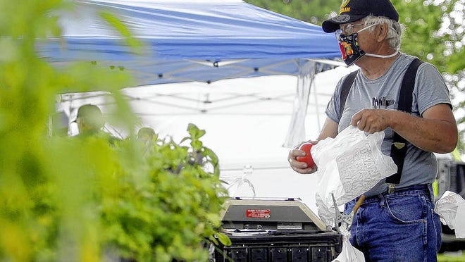 Roger Graves, owner of Yankee Street Farm in Vinton, Ohio, bags tomatoes for a customer June 4 during the opening day of the Olde Pickerington Farmers' Market.