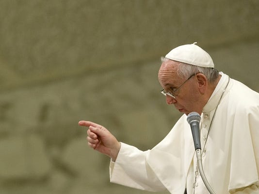 Pope Francis attends audience to Parish groups promoting evangelization, in the Paul VI hall at the Vatican, Saturday, Sept. 5, 2015.