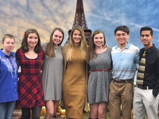 Pictured left to right are Kate Humphries, Emma Baxter, Lauren Iglar, Ashley Chipoletti, Shauna Dowis, Matt Biehl and Rohan Mathur who were inducted into the Randolph High School Chapter of the National French Honor Society.