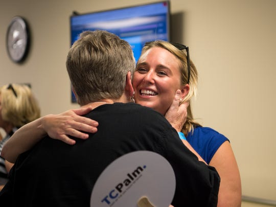 TCPalm entertainment reporter and columnist Laurie Blandford thanks TCPalm's Wine and Walk participants at the end of the night Tuesday, June 26, 2018, at the Indian River Press Journal in downtown Vero Beach.
