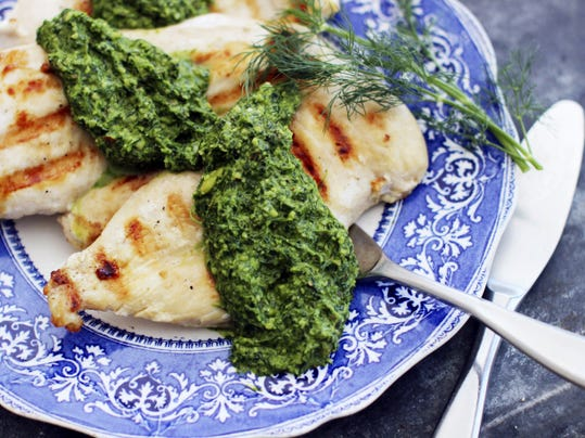 Fresh dill pesto serves as a topping for roasted chicken or vegetables, mixes well with Greek yogurt for dip, and can be used as-is in scrambled eggs and sandwiches.
